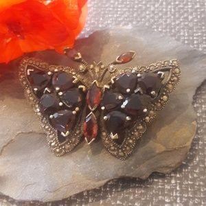 Vintage Garnet Sterling Butterfly Brooch
